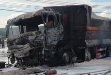 Vụ xe ben và xe bồn bốc cháy sau va chạm: Thương tâm bé 6 tuổi tử vong trong cabin cùng cha