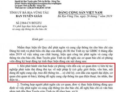 Bà Rịa - Vũng Tàu: Yêu cầu phóng viên tác nghiệp phải có giấy giới thiệu của cơ quan chủ quản