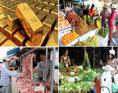 Tiêu dùng trong tuần: Giá vàng, rau xanh, trái cây giảm mạnh; trong khi giá thịt heo tăng kỷ lục