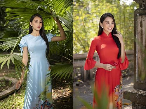 """Hoa hậu Tiểu Vy khoe sắc trong BST áo dài tết """"Xuân Thì"""" của NTK Ngô Nhật Huy"""